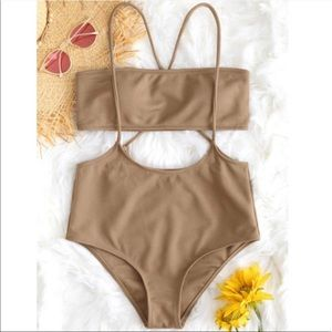 NWT TWO PIECE BANDEU HIGH WAISTED BATHING SUIT